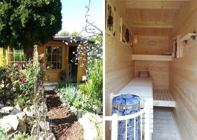 Ein Gartenhaus wird zum Wellnesshaus - mit Selbstbau-Sauna