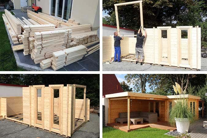 ein flachdach gartenhaus aufbauen quinta 44 iso schritt f r schritt zur wohlf hl oase. Black Bedroom Furniture Sets. Home Design Ideas