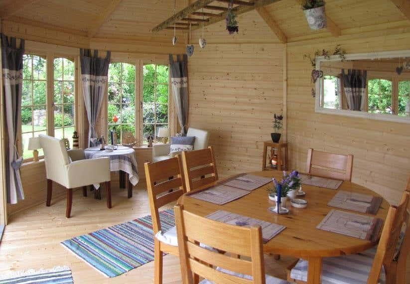Gartenhaus Deko Spiegel Und Vorhänge