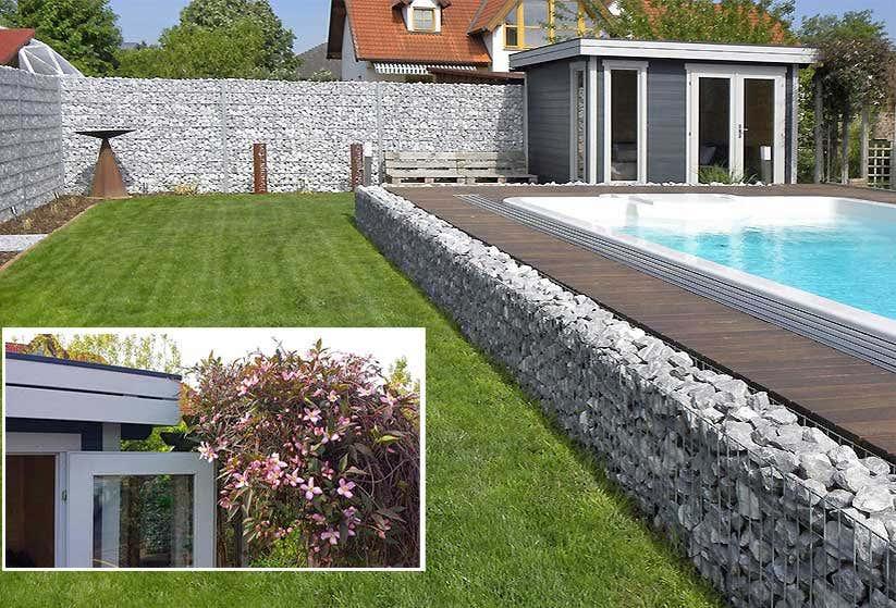 Gartenhäuser Modern gartenhaus modern in grau-weiß mit gabionen - aufbaustory