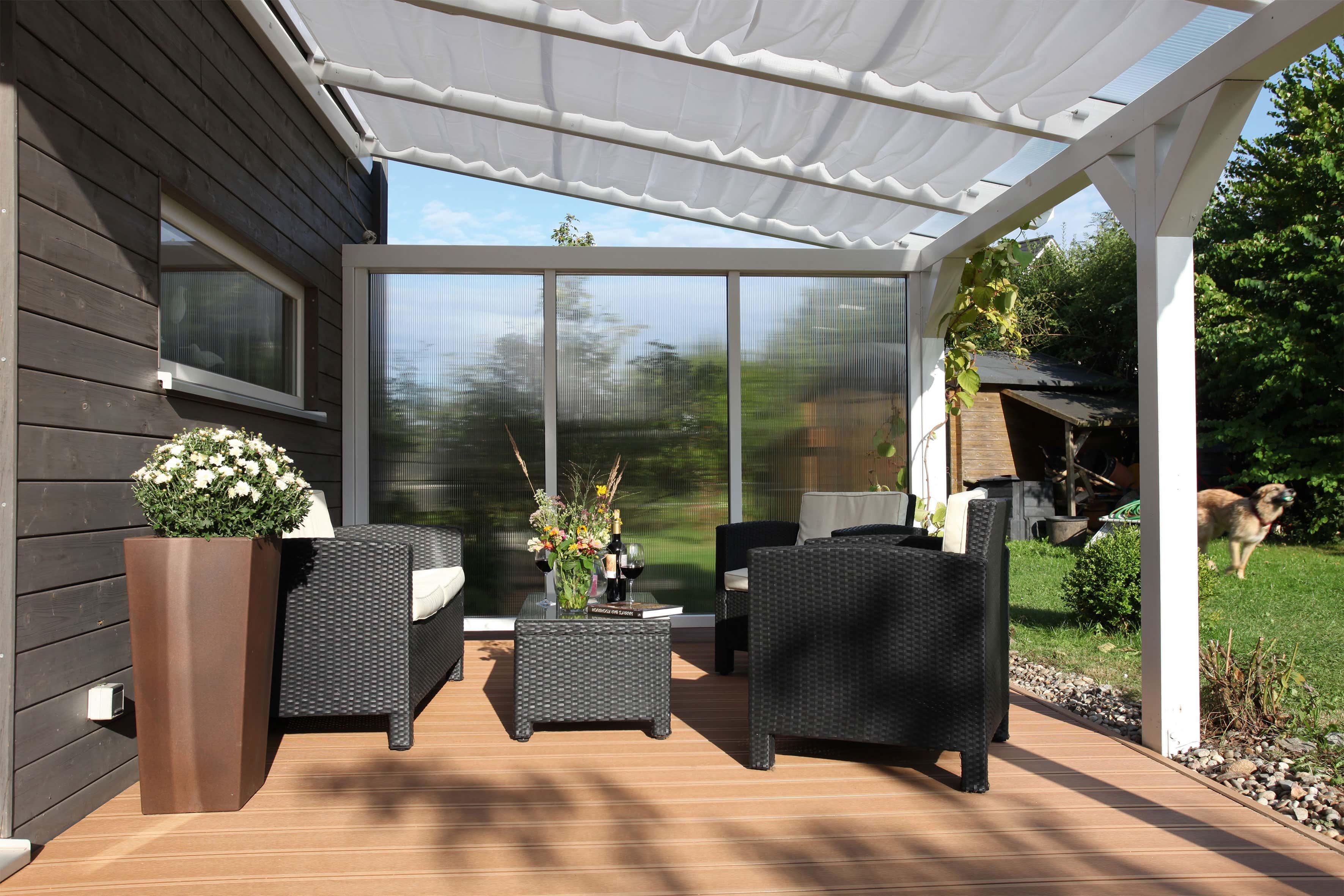 seitenwand f r terrassen berdachung aus polycarbonat 350cm a z gartenhaus gmbh. Black Bedroom Furniture Sets. Home Design Ideas