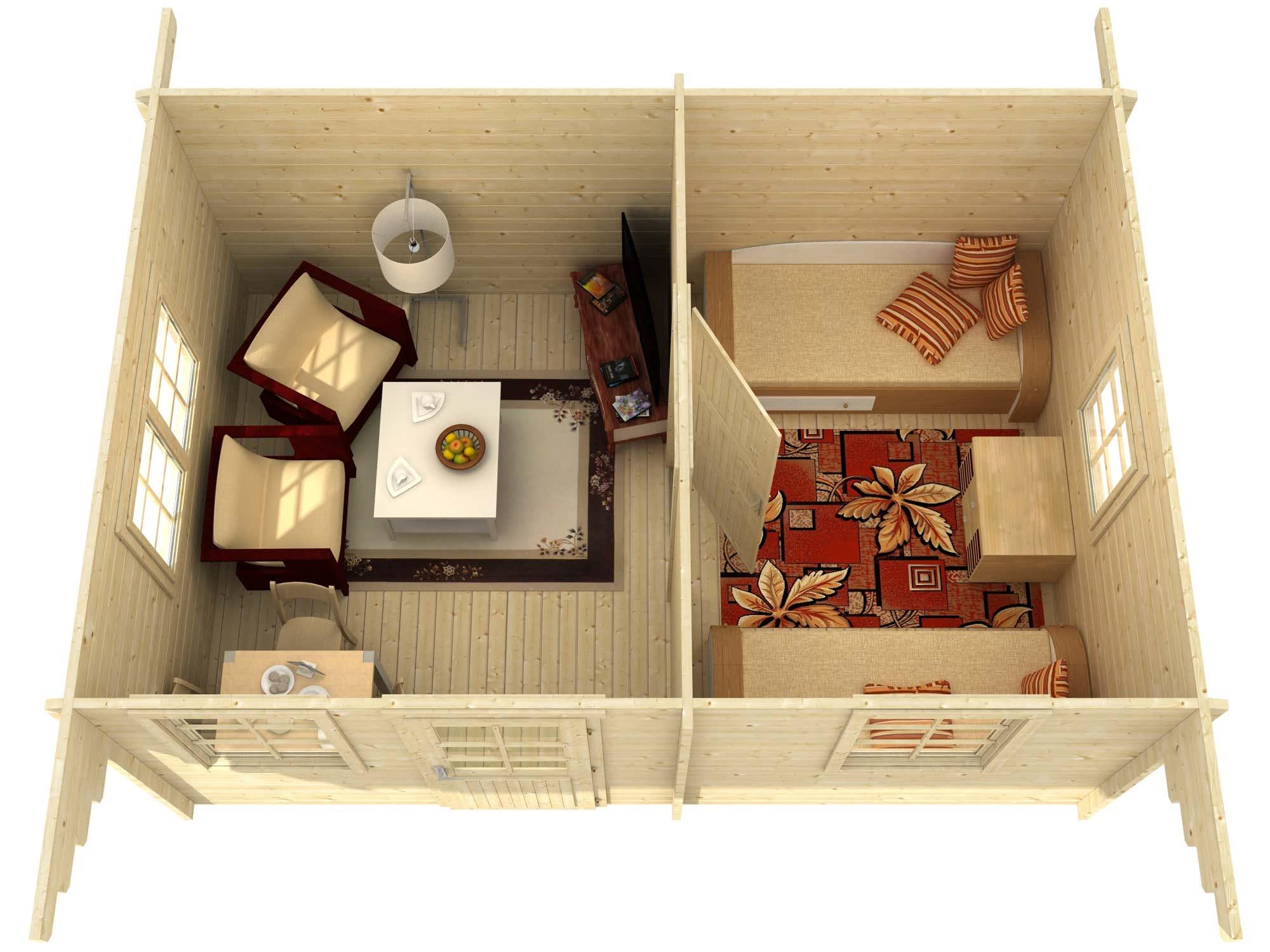 2 raum gartenhaus modell susanna 44 iso a z gartenhaus gmbh. Black Bedroom Furniture Sets. Home Design Ideas