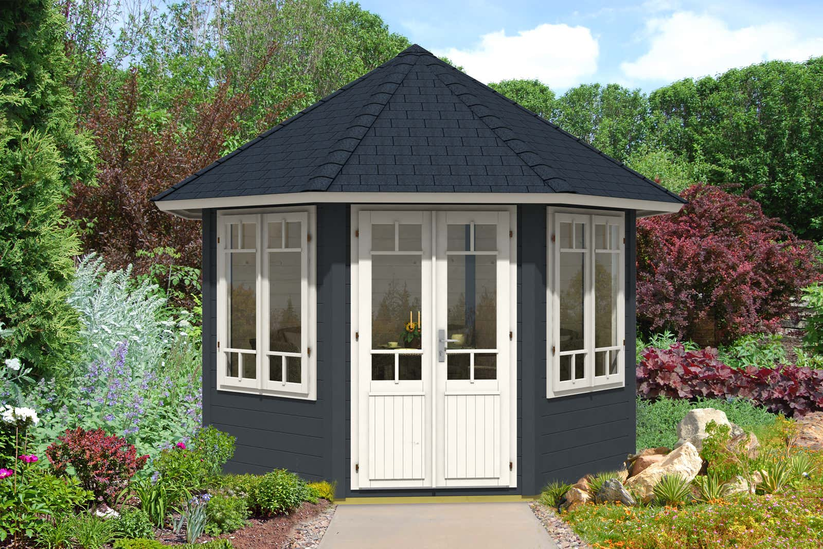 gartenpavillon katrin 34 mit 2 fenstern a z gartenhaus gmbh. Black Bedroom Furniture Sets. Home Design Ideas